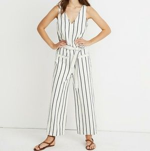 Madewell Linen Cotton Stripe Pull-On Jumpsuit NWT